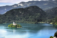 Lake Bled, Slovenia. Church of the Assumption Island seen in a perfect summer day on Lake Bled, Slovenia Royalty Free Stock Image