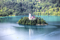 Lake Bled, Slovenia. Church of the Assumption Island seen in a perfect summer day on Lake Bled, Slovenia Stock Photos