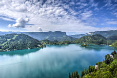 Lake Bled, Slovenia. Church of the Assumption Island seen in a perfect summer day on Lake Bled, Slovenia Royalty Free Stock Photography