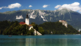 Lake in Bled, Slovenia, Europe. Lake in Bled, church on island, Slovenia, Europe Royalty Free Stock Image