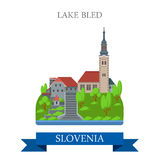 Lake Bled Slovenia Europe flat vector attraction sight landmark Stock Photography