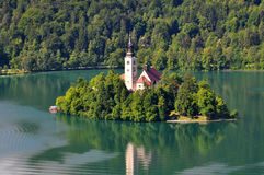 Lake Bled, Slovenia. Island on Lake Bled in Slovenia, with the Church of the Assumption Royalty Free Stock Image