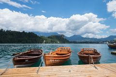 Lake Bled Slovenia, 13 July 2017. Boats moored on lake bled stock image