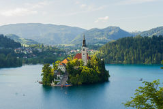 Lake Bled, Slovenia. Stunning island in the middle of the lake Bled surrounded by villages and mountains, Slovenia, Europe Stock Image