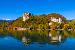 Lake Bled, Slovenia. Lake Bled in Slovenia on a Sunny Day in Autumn Royalty Free Stock Image