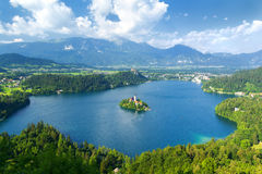 Lake Bled in Slovenia. View on lake bled with church island in Slovenia Stock Image