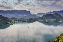 Lake Bled in Slovenia. View on lake bled with church island in Slovenia Royalty Free Stock Images