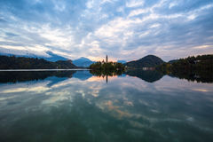 Lake Bled and small island Slovenia Royalty Free Stock Images