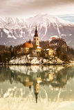 Lake Bled with St. Marys Church of the Assumption on the small i Royalty Free Stock Image