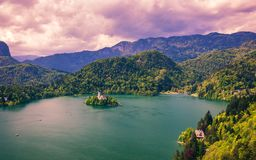 Lake Bled with St. Marys Church of Assumption on small island. B royalty free stock photos