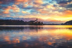 Lake Bled with St. Marys Church of the Assumption on the small i stock photos