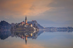 Lake Bled. Lake Bled with St. Marys Church of the Assumption on the small island. Bled, Slovenia, Europe Stock Photos