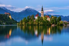 Lake Bled with St. Marys Church of Assumption on small island. Bled, Slovenia, Europe. The Church of the Assumption, Bled, royalty free stock photos