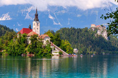 Lake Bled in summer Royalty Free Stock Photo