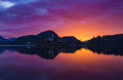 Lake Bled sunrise. This sunrise over Lake Bled encompasses the reason I bother waking up early Royalty Free Stock Image