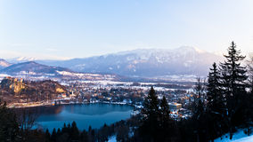 Lake Bled with nearby mountains Royalty Free Stock Photography