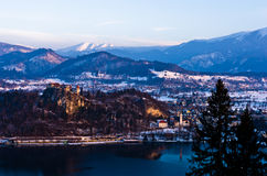 Lake Bled with surrounding landscape of slovenian Alps Royalty Free Stock Photo