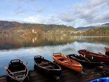 Lake Bled travel, slovenia. With its stunning lake, picture-postcard church on an islet, and some of the highest peaks of the Julian Alps and the Karavanke as stock photography