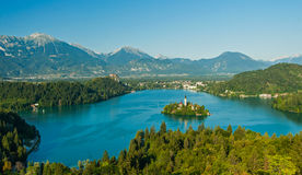 Lake Bled, view from above Slovenia Stock Photography