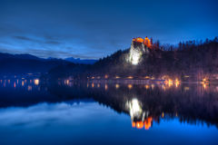 Lake Bled view on the castle at night in Slovenia Stock Photography