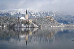 Lake Bled in winter Stock Photo