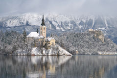 Lake Bled in winter Royalty Free Stock Photos
