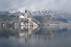 Lake Bled in winter Stock Photos