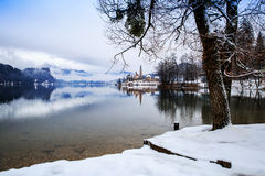 Lake Bled in winter, Bled, Slovenia, Europe. Stock Images