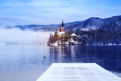 Lake Bled in winter, Bled, Slovenia, Europe. Royalty Free Stock Image