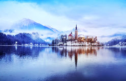 Lake Bled in winter, Bled, Slovenia, Europe. Winter landscape Bled Lake. Travel Slovenia, Europe. Bled Lake one of most amazing tourist attractions. View on Royalty Free Stock Photos