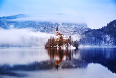 Lake Bled in winter, Bled, Slovenia, Europe. Royalty Free Stock Photography