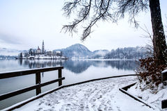 Lake Bled in winter, Bled, Slovenia, Europe. Royalty Free Stock Photo