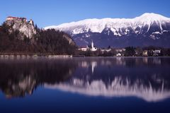 Blue Bled. Lake Bled in winter Royalty Free Stock Photos