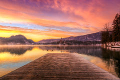 Lake Bled in winter, Slovenia, Europe Stock Image