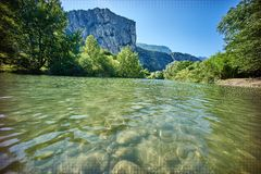 Lake with blue mountains and sky Royalty Free Stock Photos