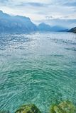 Lake with blue mountains and sky Royalty Free Stock Images