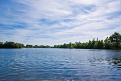 Lake and blue sky. Waves on a lake under a blue sky stock images