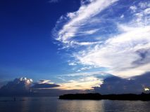 Lake and Blue Sky Nature. Beautiful Landscape on the River with Sky Clouds of Thailand Royalty Free Stock Images