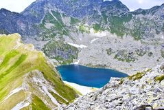 Lake with blue water. Lake high in the mountains with deep blue water stock photography