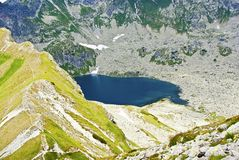 Lake with blue water. Lake high in the mountains with deep blue water royalty free stock image