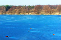 Lake, blue, water, forest, frozen, ice, winter, travel, frost Royalty Free Stock Photos