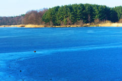Lake, blue, water, forest, frozen, ice, winter, travel, frost Royalty Free Stock Photography