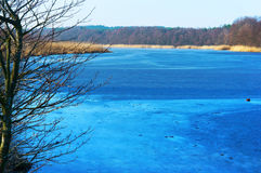 Lake, blue, water, forest, frozen, ice, winter, travel, frost Stock Photo