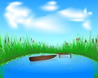 Lake and boat. Blue lake with grass and boat on the blue sky background Royalty Free Stock Photo