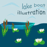 Lake boat illustration Royalty Free Stock Photography