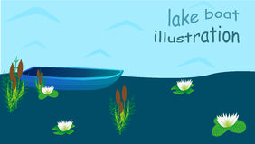 Lake boat illustration Royalty Free Stock Images