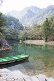 Lake and boat stock photo
