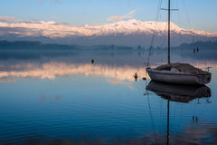 Lake and boat. Scenery of the lake to represent the quiet and peace Royalty Free Stock Image