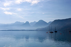 Lake and boats in austrian alps Stock Image