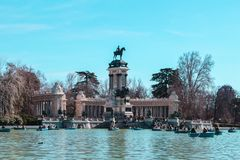Lake with boats in the Retiro stock photography